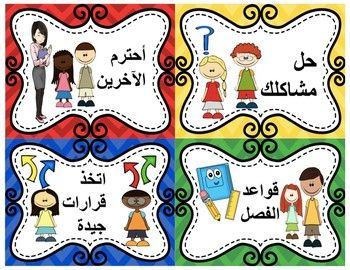 These Are The Visual Aid That Been Taught In Glad Training 3 Personal Standards Translated In Arabic I Am Superhero Classroom Theme Class Rules Arabic Kids