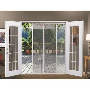 Jeld Wen White Aluminum Frame Sliding French Door Screen Door Common 72 In X 80 In Actual In 2020 French Doors Exterior French Doors Patio French Doors With Screens