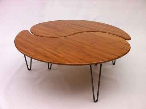 Yin Yang imbrication grande ronde Table basse - Mid-Century Modern - ère atomique Design en bambou - vient comme une paire de deux