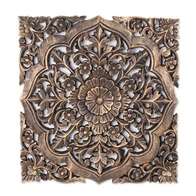 Mango Wood Relief Panel Floral Glory In 2020 Carved Wood Wall Decor Starburst Wall Art Compass Wall Decor