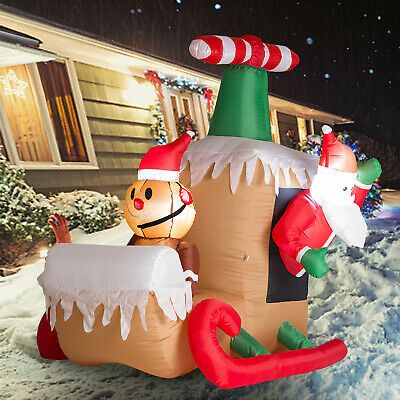 Inflatable Santa Claus Sleigh Led Lighted Airblown Christmas Yard Decoration New Inflatable Christmas Decorations Christmas Yard Decorations Inflatable Decorations