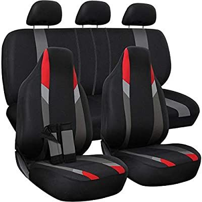 Amazon Com Motorup America Auto Seat Cover Full Set Fits Select Vehicles Car Truck Van Suv Newly Designed Mesh Red Gra In 2020 Car Seats Car Car Seat Cover Sets