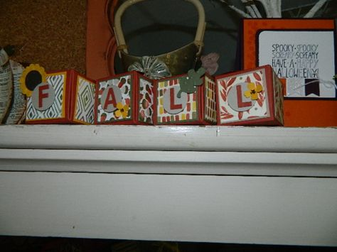 Gift Box Punch Board, Stampin' UP!, FALL spelled out box décor Hi! Fall is in the air and on my shelf {giggle} by creating with Stampin' UP!s Gift Box Punch Board, Little Letters Framelits and a few punches. Happy Crafting!~ Dee