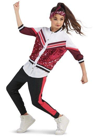 Sequin Varsity Jacket With Joggers Weissman Girls Dance Outfits Hip Hop Dance Outfits Dance Outfits Practice