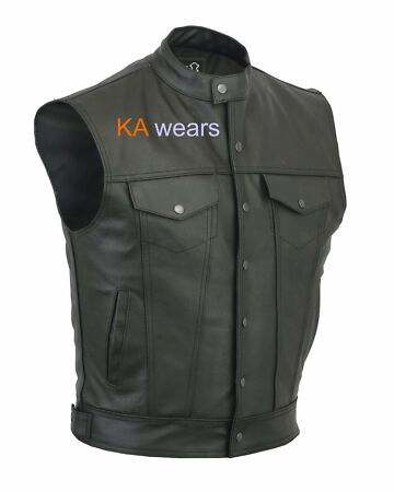 New Hommes Son Of Anarchy Biker Moto Cuir Veritable Gilet Veste Poches Mens Coats Jackets From Top Store Gilet Cuir Gilet Cuir