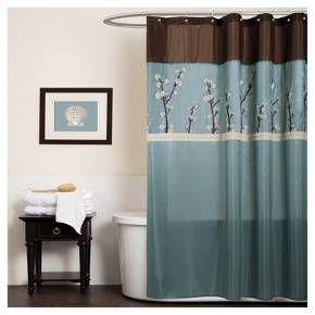 Cocoa Flower Shower Curtain Blue Lush Decor Brown Shower Curtain Blue Shower Curtains Fabric Shower Curtains