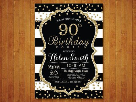 90th Birthday Invitation For Women Surprise Black And Gold Glitter Stripes C