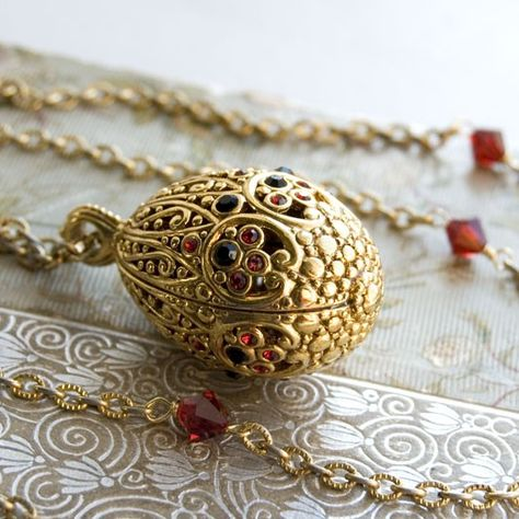 Faberge Egg Necklace - Imagine all of the secrets, hidden inside of this beauty!