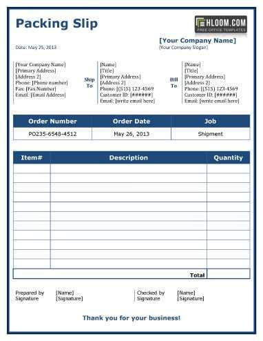 Packing Slip Templates Packing List Template Packing List List