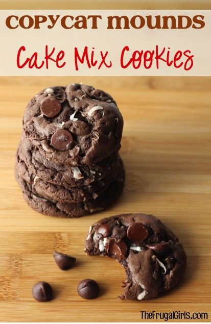 Copycat Mounds Cake Mix Cookies Recipe! ~ from TheFrugalGirls.com ~ they're full of dark chocolate, coconut, and absolute deliciousness! #cakemix #cookie #recipes #thefrugalgirls