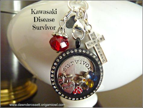 I made this Origami Owl Living Locket for my son who survived Kawasaki Disease.  I wear it close to my heart.  Please pin this for Kawasaki Disease Awareness. You may also Design a locket that has meaning to you at www.dawnderossett.origamiowl.com Sincerely, Origami Owl - Independent Designer, Dawn DeRossett