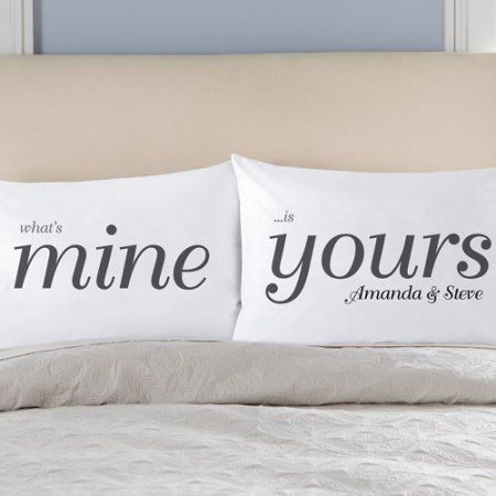 Silk Pillowcase Walmart Personalized What's Mine Is Yours Pillowcase Set White  Walmart