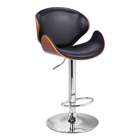 Fantastic Adeco Walnut U Shaped Adjustable Bar Stool Walnut Off Black Pabps2019 Chair Design Images Pabps2019Com