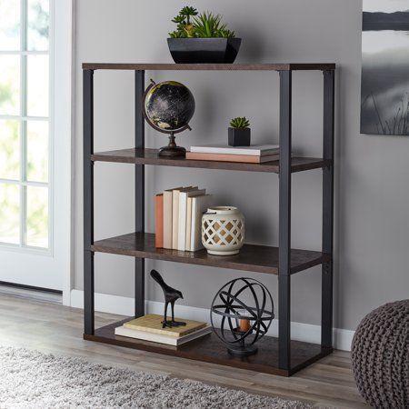 Mainstays 45 Clarendon 3 Shelf Metal Frame Book Case Sawcut Brown Walmart Com 3shelf In 2020 Shelves Home Office Design Bookcase