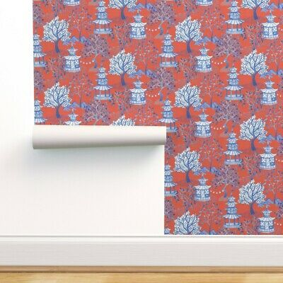 Peel And Stick Removable Wallpaper Pagoda Chinoiserie Blue And White Orange Ebay In 2020 Removable Wallpaper Wallpaper Custom Wallpaper