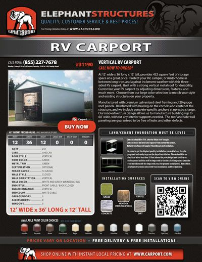 12x36 Vertical Rv Carport Metal Garages Metal Buildings Custom Metal Buildings