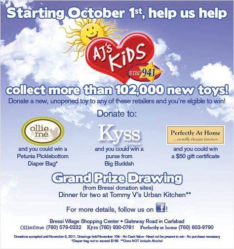 Toy drive benefitting AJ's Kids and Radys Children's Hospital in San Diego