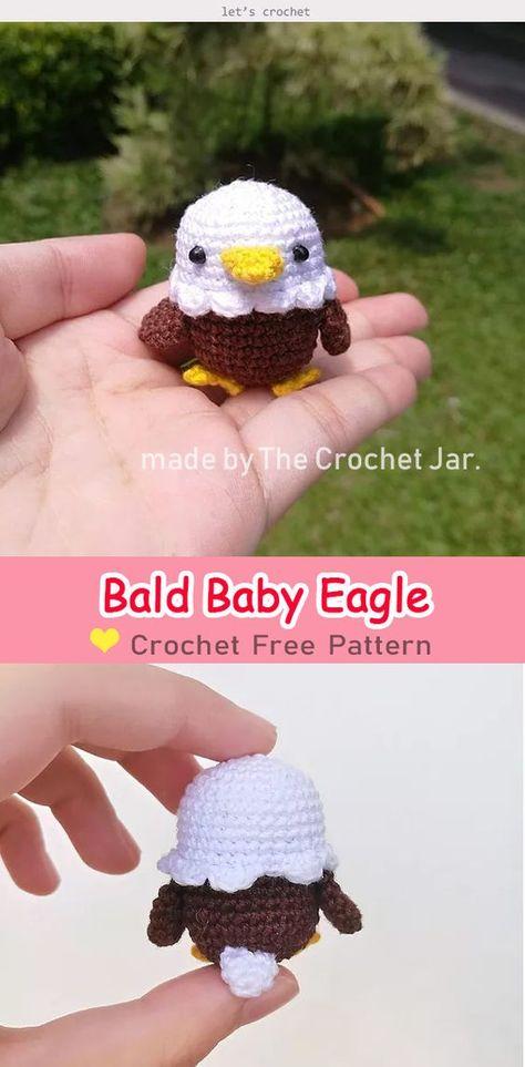 Crochet amigurumi 431149364326922279 - Bald Baby Eagle Amigurumi Free Crochet Pattern Source by meztlichan Bunny Crochet, Crochet Mignon, Crochet Birds, Cute Crochet, Crochet Crafts, Crochet Toys, Crocheted Flowers, Kids Crochet, Booties Crochet