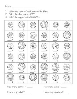 Identifying Coin Values Activity/Assessment - Quarter, Dime, Nickel, Penny