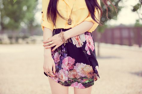 tangerine blouse and cute floral print