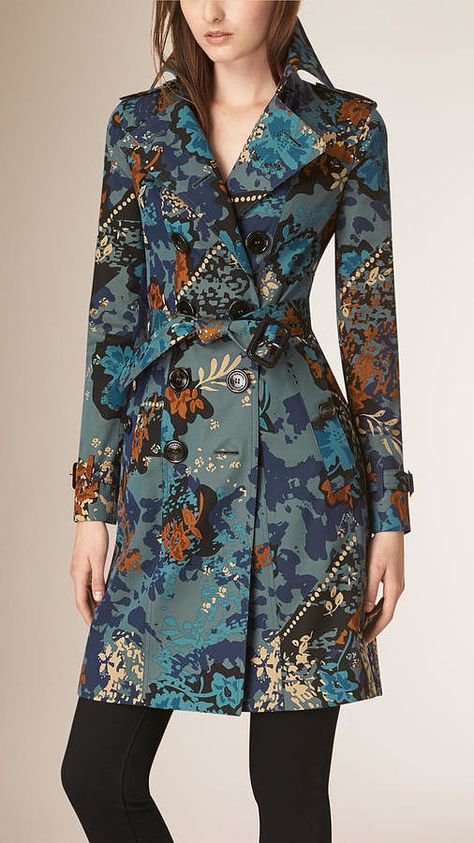 Burberry Mineral Blue Floral Cotton Gabardine Trench Coat - A water-repellent cotton gabardine trench coat in a floral print. The artwork is hand-painted
