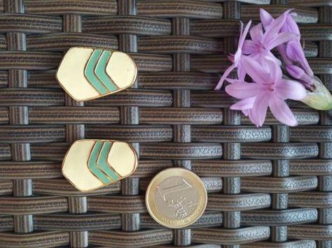 80s deadstock clip on earrings. art deco style earrings 80s prom earrings gold and mint statement earrings ivory