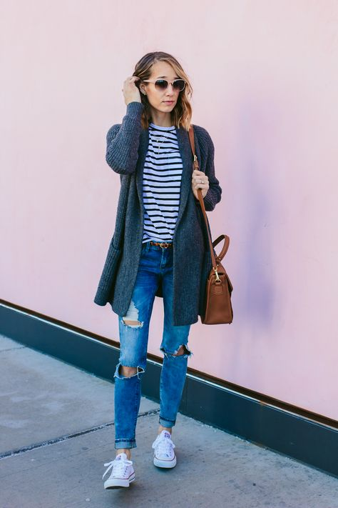 striped tee, ripped jeans, converse sneakers, fashion blogger outfit, casual outfit, chicago style blogger —via @TheFoxandShe