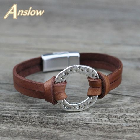 Anslow Brand Trendy Fashion Jewelry Magnetic Men's Bracelets Accessories Genuine Leather Bracelet For Man Charms Gift LOW0718LB Review