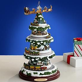 Thomas Kinkade Illuminated Musical Village Tabletop Tree Christmas