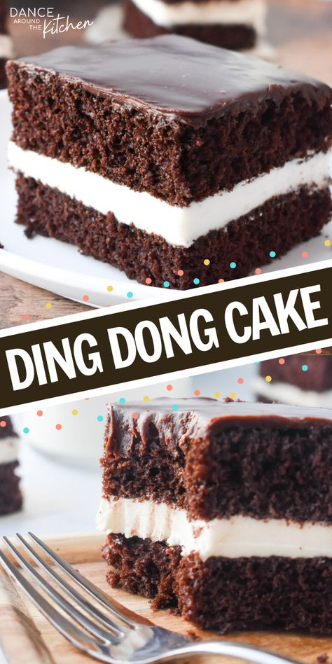 This Ding Dong Cake has chocolate cake layers a creamy filling and is topped with a chocolate ganache It s like eating a Hostess Ding Dong but better DingDong ChocolateCake LayerCake Cake Köstliche Desserts, Chocolate Desserts, Delicious Desserts, Yummy Food, Chocolate Cake With Ganache, Chocolate Birthday Cakes, Plated Desserts, Tasty, Baking Recipes