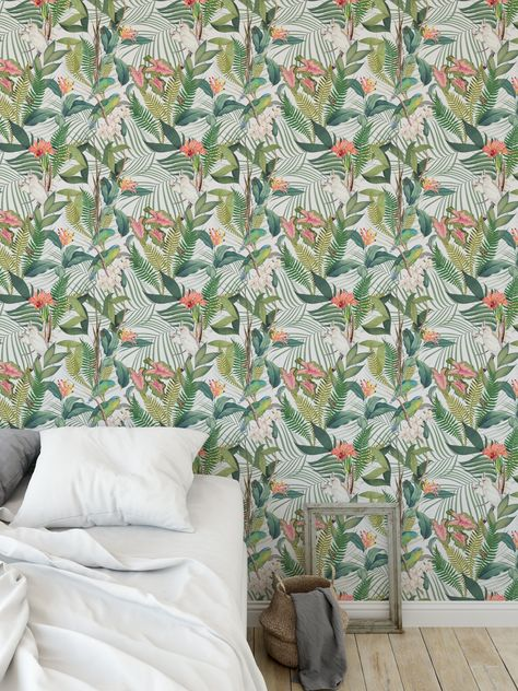 TROPICAL JUNGLE PASTEL Peel and Stick Wallpaper By Marina Gutierrez - 2ft x 16ft