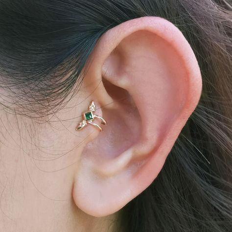 Tragus earringWing stud earring Tiny stud earringCubic | Etsy