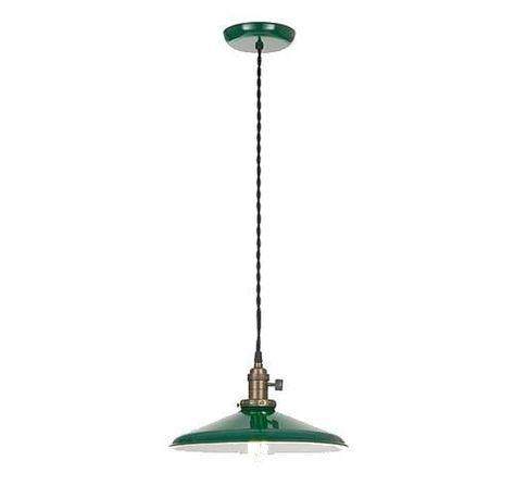 "New 10 1//4/"" Flat Green Metal Industrial Style Lamp Shade Porcelain Enamel Finish"