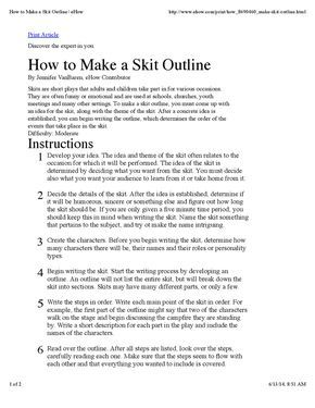 How To Make A Skit Outline Skits Script Writing Examples Short Skits