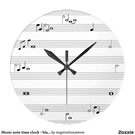 Grande Horloge Ronde Horodateur De Note De Musique Noir Et Blanc