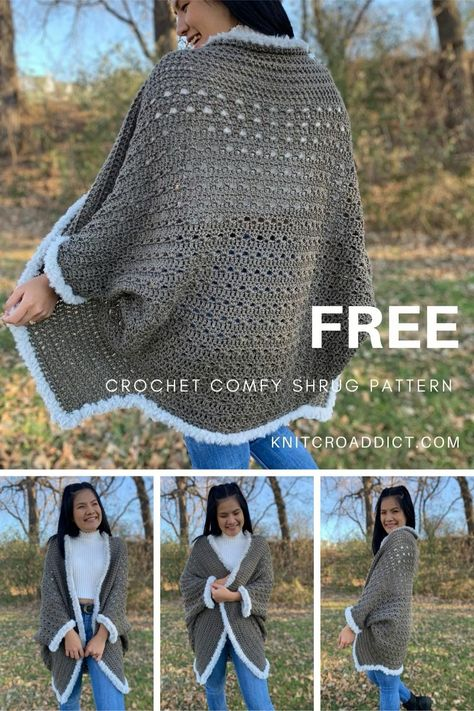 Learn to crochet an easy shrug with step by step video tutorial and written pattern, includes women's sizes XS-4XL. This shrug beyond cozy, comfy and fashionable. #crochetshrugpattern #crochet #crochetshrug #freecrochetpattern #pattern #shrug