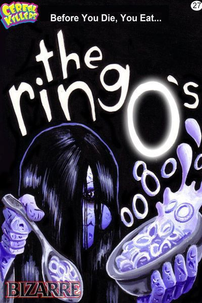 Cereal Killers Horror themed cereal box art by Joe Simko The Ring O's