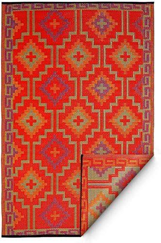 New Fab Habitat Lhasa Indoor Outdoor Rug Orange Violet 4 X 6 Online Togreatshop In 2020 Fab Habitat Indoor Outdoor Rugs Rugs