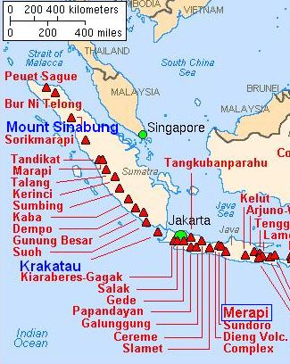 Map Of Krakatoa And Surrounding Volcanoes Volcanoes And Other - Japan map volcanoes