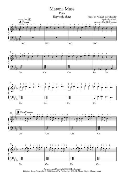Marana Mass Easy Piano Notes Petta In 2020 Easy Piano Piano Easy