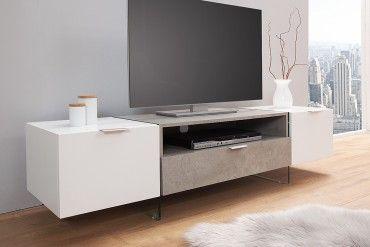 Design Tv Lowboard Onyx 160 Cm Edelmatt Weiss Beton Optik Design