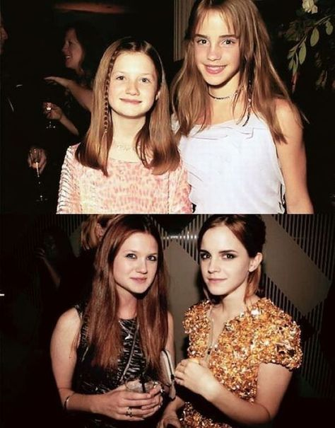 "Then and now: Bonnie Wright and Emma Watson - Funny ""then and now"" photos of Bonnie Wright and Emma Watson as kids from Harry Potter (Ginny Weasley and Hermione Granger) and a photo of the two beautif (Beauty People Actresses) Harry Potter World, Harry Potter Jokes, Harry Potter Pictures, Harry Potter Characters, Harry Potter Fandom, Harry Potter Film Cast, Harry Potter Makeup, Bonnie Wright, Estilo Harry Potter"