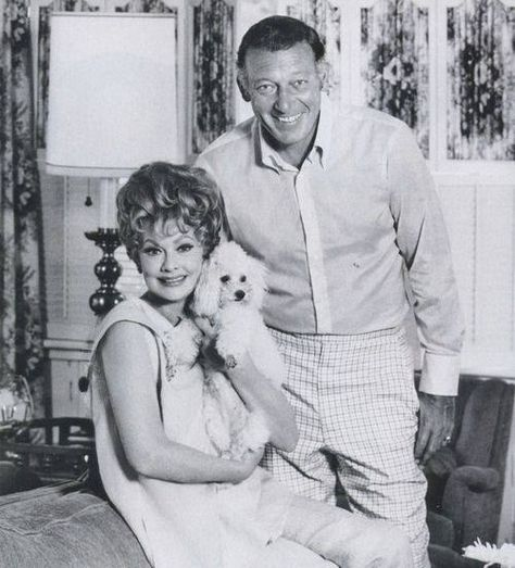Lucille Ball with second husband Gary Morton and their Poodle friend sharing the love