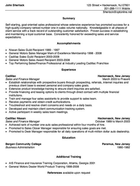 Nissan Motors Sales Resume Sample - http\/\/resumesdesign - automotive finance manager resume