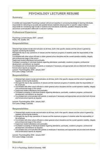 Sample Psychology Lecturer Resume In 2021 Teacher Resume Template Teacher Resume Examples Cv Design Template
