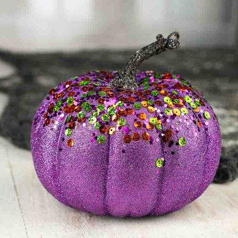 Purple Glittered and Sequined Artificial Pumpkin - Table Decor - Fall and Thanksgiving - Holiday Crafts