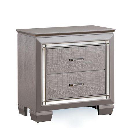 William S Home Furnishing Bellanova Silver Contemporary Style Nightstand 2 Drawer Nightstand Furniture Nightstand