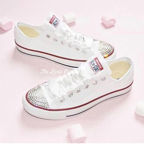 Luxe Crystal Custom Converse Personalised Wedding Bridal Original Chuck  Taylor Mono White Sneakers Personalized Customized Bride Shoes Women eb5901ad9ef1