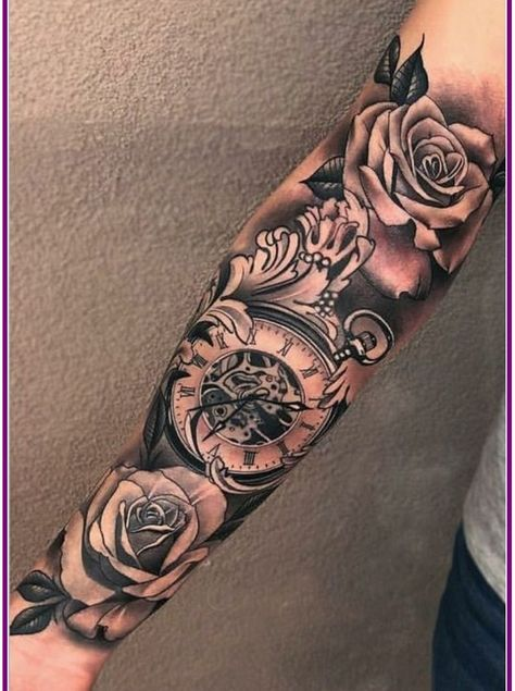 Bad ass arms are hot and sexy sleeve tattoo designs, clock tattoo sleeve, tattoo