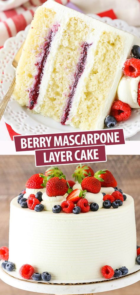 Berry Mascarpone Layer Cake with layers of fluffy vanilla cake, fresh berry filling & mascarpone whipped cream frosting! Light, fruity & perfect for spring! Delicious Cake Recipes, Best Cake Recipes, Cupcake Recipes, Yummy Cakes, Baking Recipes, Sweet Recipes, Cupcake Cakes, Dessert Recipes, Birthday Cake Cupcakes